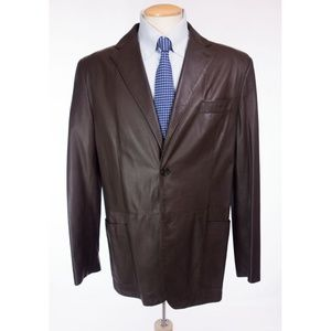 VALENTINO Lambskin Leather Blazer 54 US 44 L Brown
